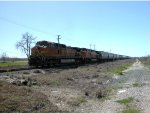 UP 4945  5Mar2012  Pushing on the rear SB wHoppers from FM3407 (Wonder World Drive) 